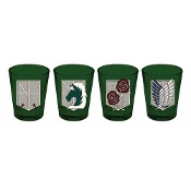 Attack on Titan Wall Badges Shot Glass 4-Pack